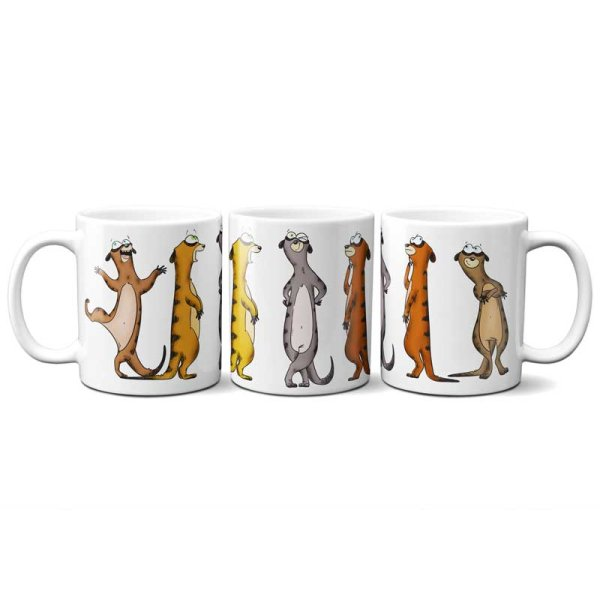 Personalized mug decorated with meerkats